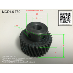 Helical Pinion Mod 1.0 T30 with 2xM4 x Ø8.1