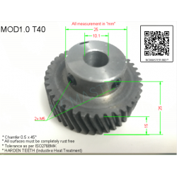Helical Pinion Mod 1.0 T40 with 2xM4 x Ø10.1