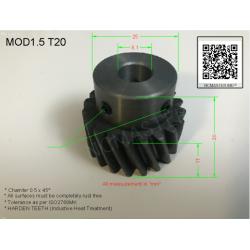 Helical Pinion Mod 1.5 T20 with 2xM4 x Ø10