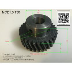 Helical Pinion Mod 1.5 T30 with 2xM4 x Ø14.1