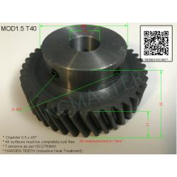 Helical Pinion Mod 1.5 T40 with 2xM4 x Ø14.0